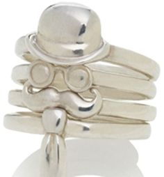 Kristy Lin  Silver ring set w/ hat, sunglasses, mustache and tie  Style Name: Monsieur stack