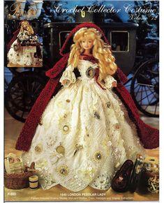 1840 London Peddlar Lady for Barbie Paradise 72 Crochet Pattern No Doll New Crochet Doll Dress, Crochet Barbie Clothes, Crochet Doll Pattern, Barbie Patterns, Doll Clothes Patterns, Clothing Patterns, Barbie Style, Square Skirt, Poppy Parker
