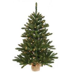 2' Pre-Lit Anoka Pine Artificial Christmas Tree with Burlap Base - Clear Lights