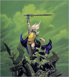 Elric of Melniboné | Art by Michael Whelan, originally for the cover of Michael Moorcock's _Stormbringer_ (Daw 1977; Grafton 1985); also used for Cirith Ungol's _Frost and Fire_ (1981)