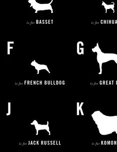 Alphabet chart w/ dog breeds... This would be cute framed in puppy themed room