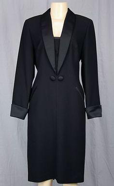 Karon Lorrance Tuxedo Dress Satin Trim Sz 6 s Love Black Tie | eBay