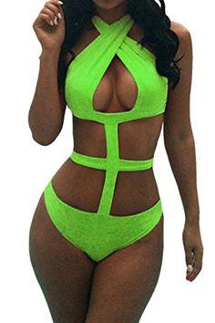 SEXYARN Women's Bandage Criss Cross One Piece Monokini Swimsuit Swimwear FBA (L, Green-1) SEXYARN http://www.amazon.com/dp/B00Y56463C/ref=cm_sw_r_pi_dp_zFpswb1T1KTW3