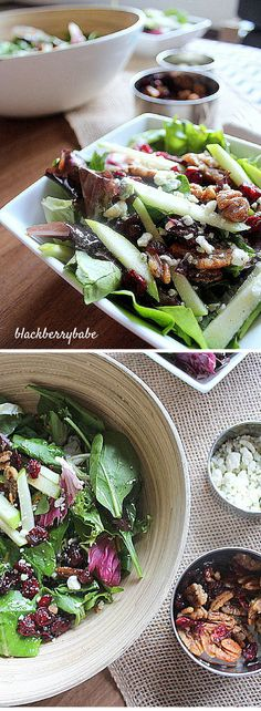Granny Smith apples, Gorgonzola cheese, candied pecans, cranberries and spring mix with a Champagne- Honey Vinaigrette. Side Dish Recipes, Easy Dinner Recipes, Appetizer Recipes, Salad Recipes, Appetizers, Dinner Ideas, Vegetable Side Dishes, Vegetable Recipes, Vegetarian Recipes