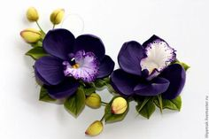 Заколки ручной работы. Орхидея с бутонами. Лилия Макарова. Ярмарка Мастеров. Заколка с цветами, авторская ручная работа, подарок девушке