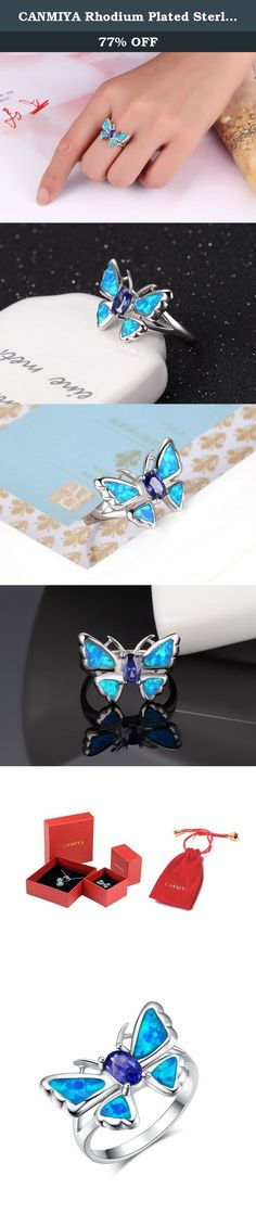 CANMIYA Rhodium Plated Sterling Silver Synthetic Blue Opal Butterfly Stylish Ring For Women(7#). Canmiya committed herself to providing perfect jewelry and top notch service. Just feel free to contact us when you need help. We are always here ready to help you! Sterling Silver History Experts believe that silver alloy, used today as sterling silver, originated in continental Europe in the 12th century. Pure silver was found to be a soft and easily damageable material. When combined with...