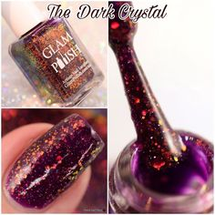 First up from the @glampolish_ Wizardly Ways Collection is The Dark Crystal. The Dark Crystal is a berry plum jelly base with Color Shifting Iridescent Glitter and a hint of glass flecks and fine holo microglitter. Releasing Thursday November 24th at 3pm. Check out my blog post for info on Glam Polish Black Friday sales!! #glampolish #glamwizardlyways #macro #macronail #fbpolishpaws #prsample