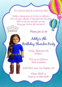 American Girl Saige Birthday Invitation {Made by a Princess Parties in Style}
