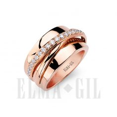 """Gorgeous 18K rose gold diamond """"stripe"""" ring available at Kleinhenz Jewelers. 440.892.1020"""