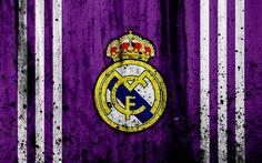 Download wallpapers Real Madrid, 4k, grunge, La Liga, Galacticos, purple background, soccer, football club, LaLiga, Real Madrid FC