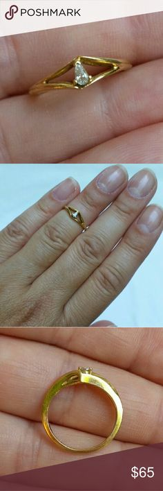 14K Gold and Diamond Midi Ring Solid 14k yellow gold and approx 2.8x1.5 natural pear shaped diamond about .06cts. Size 2.75 1.5g  Selling at today's gold spot price so price is FIRM.   Basically that means that this is the price (including Posh's fee) that I will get scrapping it for the gold at my county refinery. But this ring is NOT scrap, it's a lovely ring that needs a new home to avoid being melted! Cheaper on Mercarri. Jewelry Rings