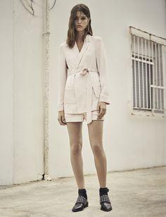 AllSaints Women's June Lookbook Look 3: Ivana Blazer, Ivana Shorts, Yannis Shoe