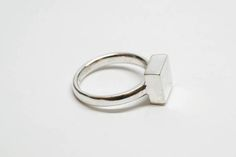 Solid Square Signet Ring Minimalist Ring by HellaGanorDesign