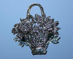 Vintage Silver Coloured Flowers Basket Brooch  by GillardAndMay