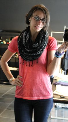 How to transform a simple t-shirt into a cute outfit. Scarf - Express; tee - Forever21; evil eye bracelets - kizchicago.com