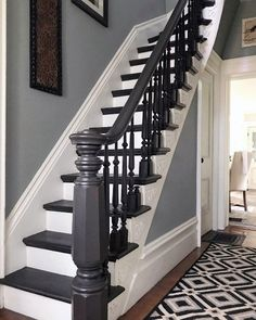 55 Ideas Basement Stairs Diy Staircase Remodel Stairways For 2019 Painted Staircases, Wood Staircase, Modern Staircase, Staircase Design, Wood Railing, Staircase Ideas, Painted Wood Stairs, Black Staircase, Bannister Ideas Painted
