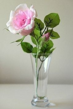 Como hacer rosa con papel crepe-1