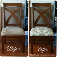 diy: reupholster chairs; recovering seat cushions is a great