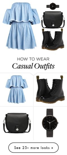 """Casual Day Out- Frayed Denim Dress + Black Docs"" by indiegopearl on Polyvore featuring Dr. Martens, rag & bone and I Love Ugly"