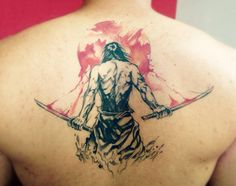 Samurai back watercolour tattoo done at Gatto Matto Tattoo Studio