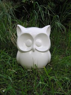 WHOOOOOTIFULLY Cute Glazed Big Eyed Garden Owl Statue by whitedovecrafts on Etsy   !!TOTALLY!! CUTE guaranteed to make everyone smile who sees him.  Owl garden art that is truly decor to adore.  Keep for yourself or makes a great gift.
