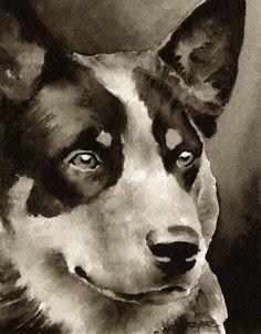 Blue Heeler Dog in Watercolor