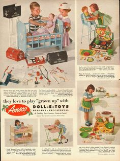 1953 Vintage ad for Amsco& Dollo-E-Toys& toys American Metal Specialties C Vintage Advertisements, Vintage Ads, Vintage Images, 50s Advertising, Vintage Ephemera, Vintage Pictures, Childhood Toys, Childhood Memories, Vintage Girls
