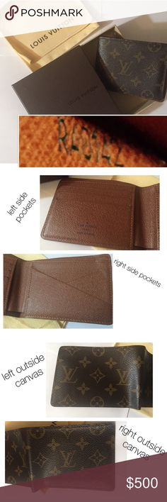 Louis Vuitton Multiple Wallet Monogram Men's Dimension: 4.7in L X 3.5in H Color: Brown  Style: Monogram canvas Features: 3 slots left side, 2 slots right side, 2 bill/banknote slots, 2 slots for receipts Made of natural Cowhide leather Code inside the left receipt slot RA0142 Only used 1 time by my boyfriend on his birthday few years ago and have been stored inside its box ever since. Has box, cloth bag included.  Retail price when bought $490 +$42 tax but free shipping. Total is $532 Price…