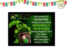 Hulk Invitation Hulk Birthday Invitation Hulk by HDInvitations Tutu Invitations, Superhero Invitations, Kids Birthday Party Invitations, Hulk Birthday Parties, 4th Birthday, Birthday Ideas, Incredible Hulk Party, Chalkboard Invitation, Invite