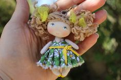 Fun gift for a girl from 3 to 99 years old - miniature rag doll 3-1/8 inches only. This cloth art tiny doll is perfect to decorate your car mirror, bag, satchel or backpack of your daughter. With this cute keychain or car decoration success is insured as positive emotions