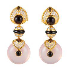 PNEU earrings with smoky quartz and rose quartz