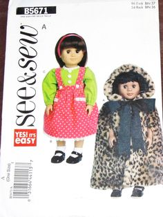 """Crafts Sewing Pattern Butterick See & Sew 5671 18"""" Doll Clothes Hooded Cape, Jumper Dress Blouse Fits AG Type Girl Dolls Uncut Factory Folds by RosesPatternsEtc on Etsy"""