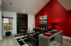 Beautiful and bright red accent wall draws your attention instantly Classic Color Combinations: The Sophisticated Elegance Of Red, Black And White