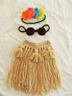 Baby Hula Girl Crochet Set, Hawaiian Hula Girl Dancer Outfit, Baby's First Luau…By Cecielba Creations on Etsy.
