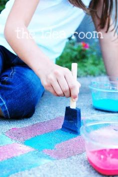 When my kids were little I used to give them paint brushes and a bucket of water and they spent hours painting the entrance, the side of the house, the deck, and so on.  This is dyi sidewalk chalk paint for the brave at heart.