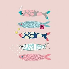 Cornish Mackerel - Anna Victoria - link doesn't go anywhere, inspiration for making cut-out fish from origami paper and them embellishing. Art And Illustration, Pattern Illustration, Illustrations Posters, Animal Illustrations, Zentangle, Fish Art, Artsy, Drawings, Drawing Sketches