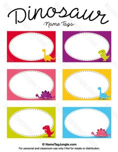 Free printable dinosaur name tags. The template can also be used for creating items like labels and place cards. Download the PDF at http://nametagjungle.com/name-tag/dinosaur/