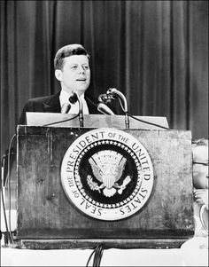 At The PodiumJohn Fitzgerald Kennedy delivers a speech at the Waldorf Astoria hotel in New York city, 29 April 1961
