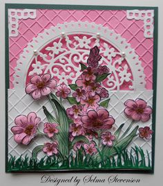 Lovely card, white over the pink & flowers
