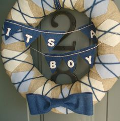 Door Wreaths New Baby Boy | Yarn Wreath Handmade Front Door Baby Boy 12in. by ItzFitz on Etsy