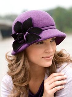 Felt cloche and self trim in contrasting color #milliinery #judithm #hats #TopHatsForWomen #site:onlinehatstore.site