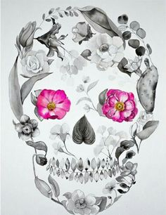 I don't like the skull AT ALL, but the concept of flowers or something actually making up a bigger thing is a really cool concept