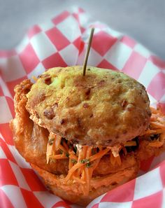 The MFC sandwich at WSK. Morrocan fried chicken with carrot/preserved lemon salad & spicy feta spread on a white cheddar biscuit. YUMMM