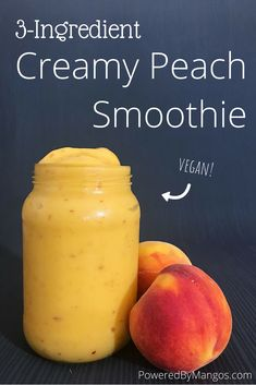 Creamy Peach Smoothie is the perfect healthy plant-based breakfast recipe. Creamy Peach Smoothie is the perfect healthy plant-based breakfast recipe. Smoothie Bowl Vegan, Peach Smoothie Recipes, Vegan Smoothie Recipes, Smoothie King, Fruit Smoothie Recipes, Easy Smoothies, Breakfast Smoothies, Peach Banana Smoothie, Fruit Snacks