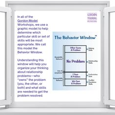 #behavior #behaviorwindow #gordontraining #gordonmodel Good Parenting, Relationship Tips, Behavior, Leadership, Communication, Bring It On, Training, Hacks, Behance