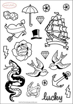 SALE Wall Decals Mini Tattoo (Reusable and removable fabric stickers, not vinyl) - MINI Tattoo Flash stickers for laptops, notebooks etc