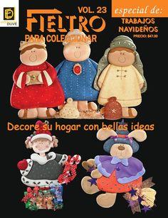 descargar revista manualidades en fieltro - Buscar con Google Felt Christmas Ornaments, Crafts To Make, Nativity, Editorial, Stockings, Teddy Bear, Toys, Holiday Decor, Creando Ideas
