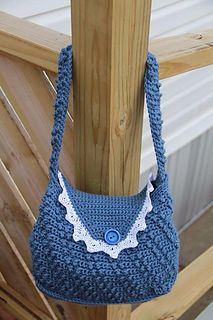 """Denim & Lace"" Purse made by Debbie Nolen.  The pattern ""Oblique Elegance Handbag"" is by Jennifer Prekopa of Little Luvies Shop."
