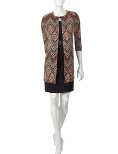 Glamour 2-pc. Abstract Chevron Print Lab Jacket & Dress Set | Stage Stores