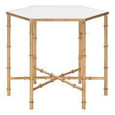 Safavieh Furniture - The updated Asian elegance of the Kerri Accent Table's faux bamboo blends classic Chinoiserie style and exotic detail. With gold leaf finish on its forged Gold End Table, Glass End Tables, Small Tables, Gold Glass, Clear Glass, Bertoia, Mirrored Side Tables, H Design, Asian Design
